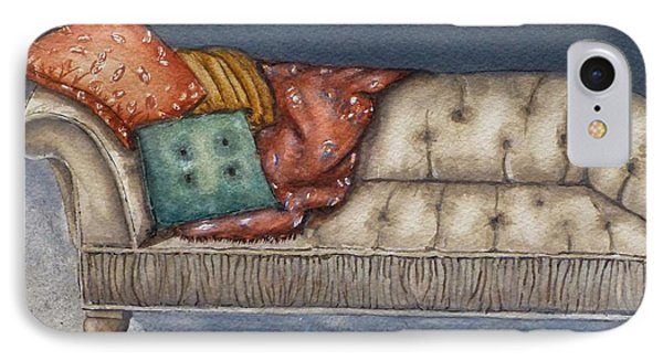 IPhone Case featuring the painting Vintage Comfy Couch by Kelly Mills