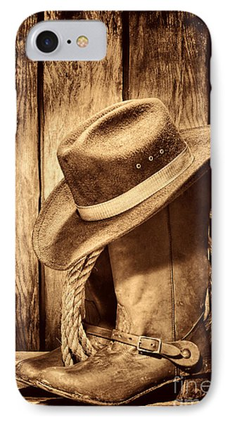 Vintage Cowboy Boots IPhone Case by American West Legend By Olivier Le Queinec
