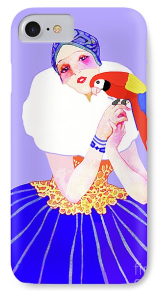 IPhone Case featuring the painting Vintage Dancer With Parrot by Marian Cates