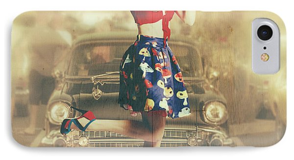 Vintage Drive Thru Pin-up Girl IPhone Case by Jorgo Photography - Wall Art Gallery