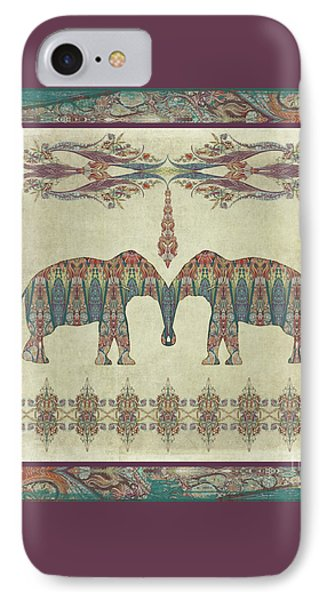 IPhone Case featuring the painting Vintage Elephants Kashmir Paisley Shawl Pattern Artwork by Audrey Jeanne Roberts