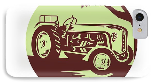 Vintage Farm Tractor Circle Woodcut IPhone Case