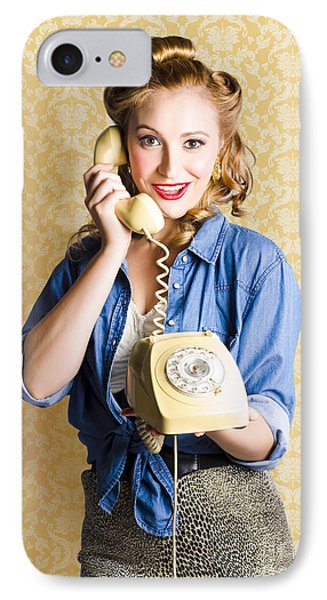 Vintage Fifties Telephone Operator Holding Phone IPhone Case by Jorgo Photography - Wall Art Gallery