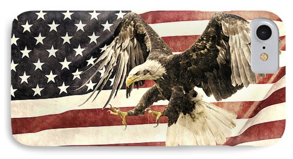 IPhone Case featuring the photograph Vintage Flag With Eagle by Scott Carruthers