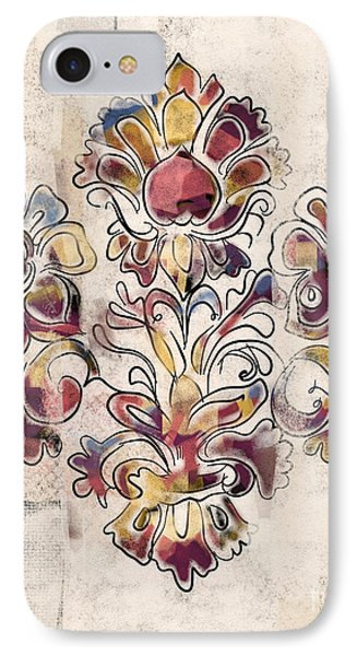 IPhone Case featuring the mixed media Vintage Fleur by Carrie Joy Byrnes