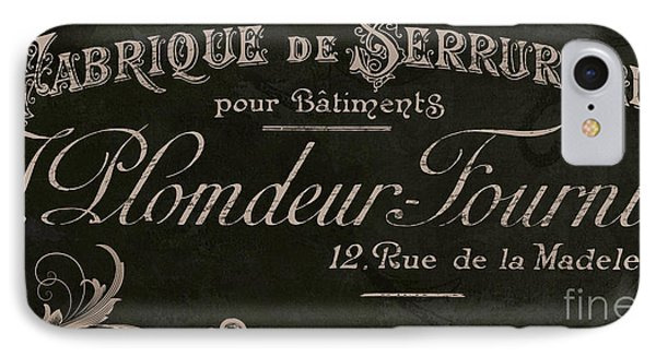 Vintage French Typography Sign IPhone Case by Mindy Sommers