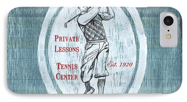 Golf iPhone 7 Case - Vintage Golf Blue 2 by Debbie DeWitt