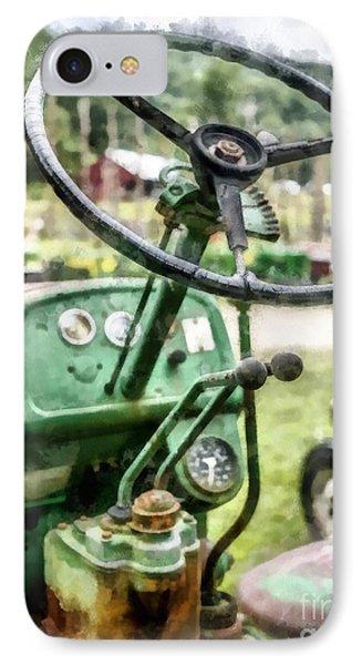 Vintage Green Tractor Steering Wheel IPhone Case by Edward Fielding