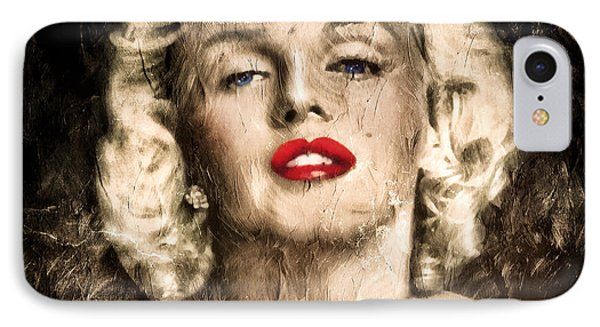 Vintage Grunge Goddess Marilyn Monroe  IPhone Case by Georgiana Romanovna