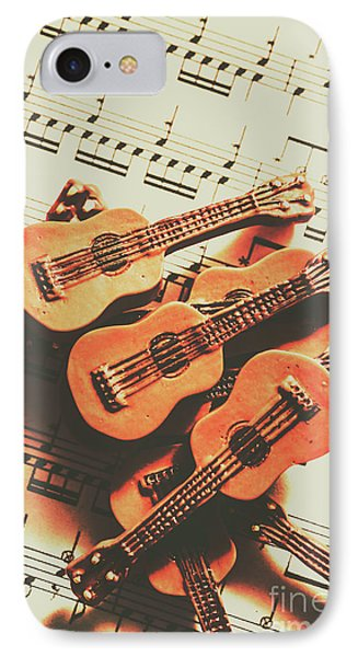 Vintage Guitars On Music Sheet IPhone Case by Jorgo Photography - Wall Art Gallery