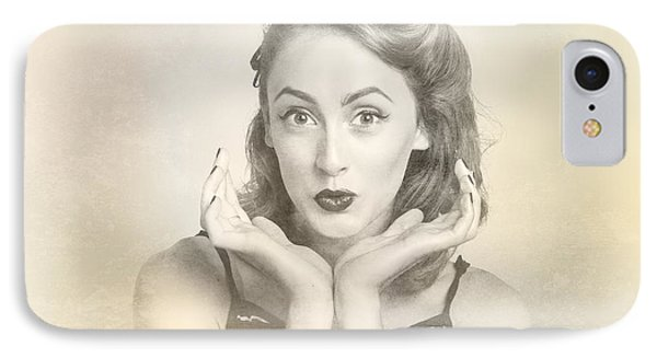 Vintage Hair Pin Up With Surprised Expression IPhone Case by Jorgo Photography - Wall Art Gallery