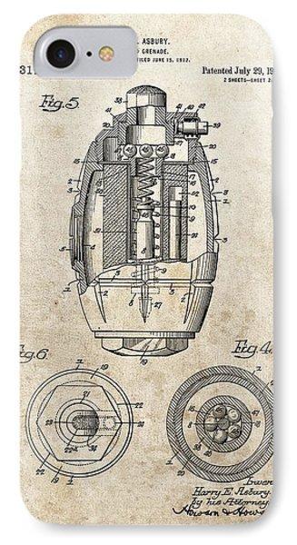 Vintage Hand Grenade Patent IPhone Case