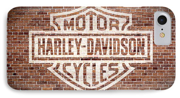 Vintage Harley Davidson Logo Painted On Old Brick Wall IPhone Case by Design Turnpike