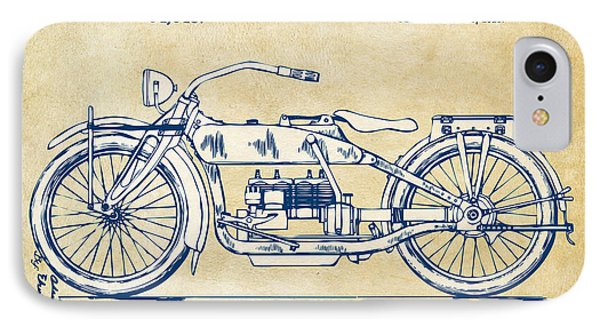 Vintage Harley-davidson Motorcycle 1919 Patent Artwork IPhone 7 Case by Nikki Smith