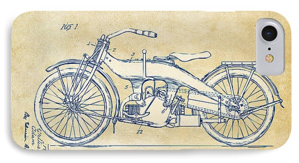 Vintage Harley-davidson Motorcycle 1924 Patent Artwork IPhone Case by Nikki Smith