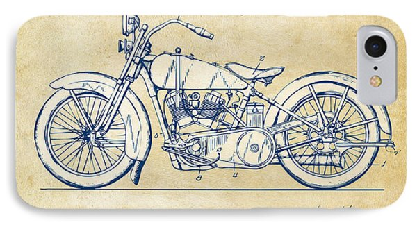 Motorcycle iPhone 7 Case - Vintage Harley-davidson Motorcycle 1928 Patent Artwork by Nikki Smith