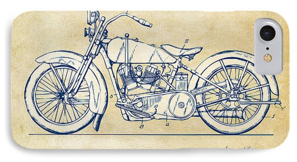 Vintage Harley-davidson Motorcycle 1928 Patent Artwork IPhone 7 Case by Nikki Smith