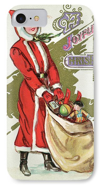 Vintage Illustration Of A Girl In A Santa Claus Suit With A Bag Of Christmas Toys IPhone Case
