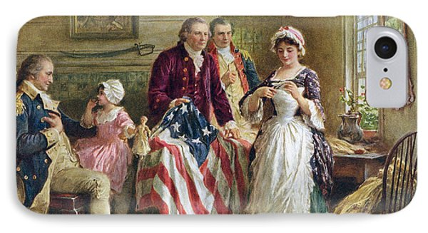 Vintage Illustration Of George Washington Watching Betsy Ross Sew The American Flag IPhone Case