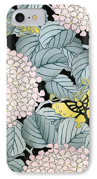 Vintage Japanese Illustration Of A Hydrangea Blossoms And Butterflies IPhone Case by Japanese School