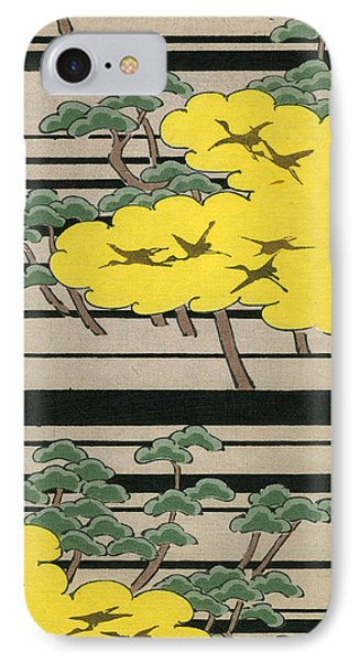 Vintage Japanese Illustration Of An Abstract Forest Landscape With Flying Cranes IPhone Case by Japanese School