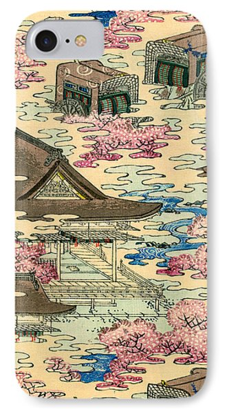 Vintage Japanese Illustration Of An Abstract Landscape With Stylized Houses IPhone Case by Japanese School