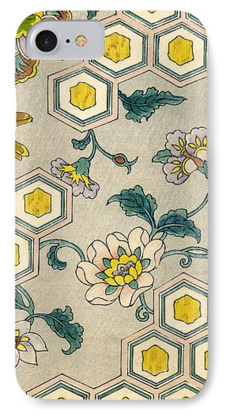 Vintage Japanese Illustration Of Blossoms On A Honeycomb Background IPhone Case