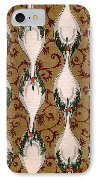 Vintage Japanese Illustration Of Cranes Flying IPhone Case by Japanese School