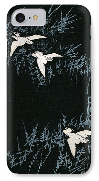 Vintage Japanese Illustration Of Three Cranes Flying In A Night Landscape IPhone Case by Japanese School