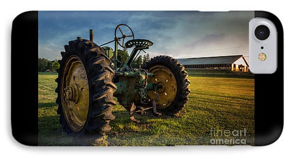 Vintage John Deere At Sunset IPhone Case by Edward Fielding
