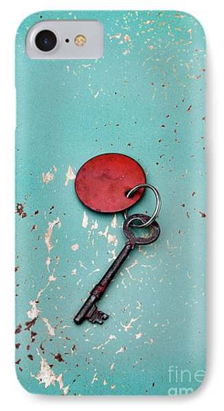 Vintage Key With Red Tag IPhone Case by Jill Battaglia