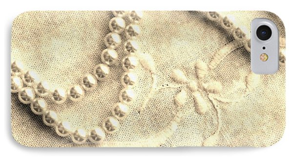 Vintage Lace And Pearls Phone Case by Barbara Griffin