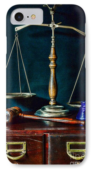 Vintage Lawyer Scales Of Justice IPhone Case by Paul Ward