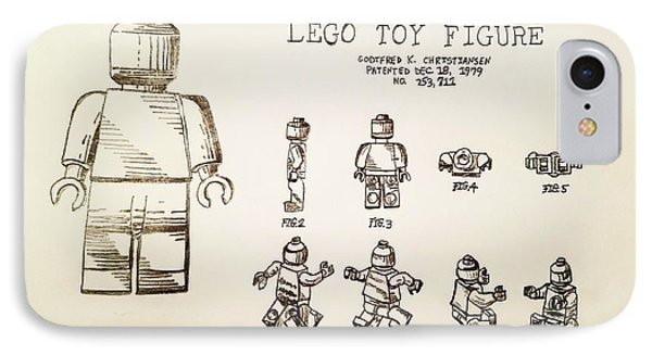 Vintage Lego Toy Figure Patent - Graphite Pencil Sketch IPhone Case by Scott D Van Osdol
