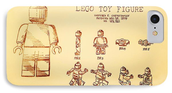 Vintage Lego Toy Figure Patent - Peach Background IPhone Case