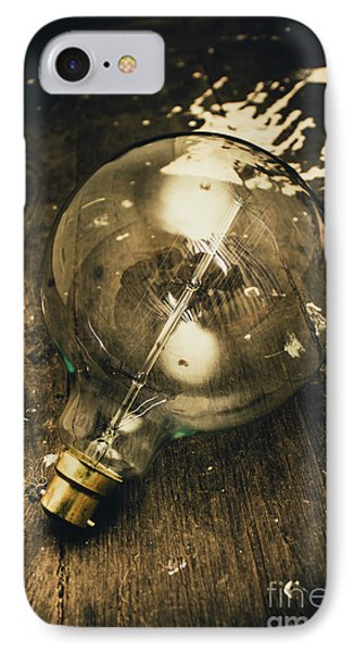 Vintage Light Bulb On Wooden Table IPhone Case by Jorgo Photography - Wall Art Gallery