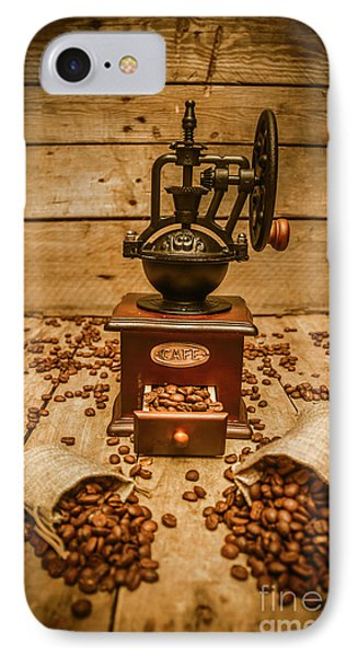 Vintage Manual Grinder And Coffee Beans IPhone Case by Jorgo Photography - Wall Art Gallery