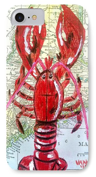 Vintage Map Maine Red Lobster IPhone Case