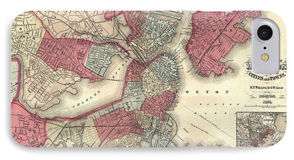 Vintage Map Of Boston Massachusetts - 1871 IPhone Case