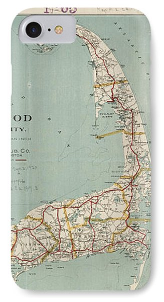 Vintage Map Of Cape Cod - 1917 IPhone Case by CartographyAssociates