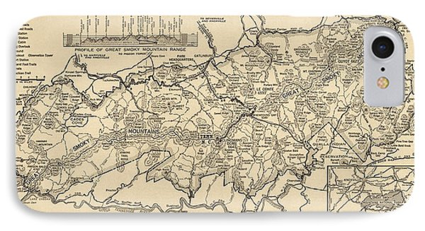 IPhone Case featuring the drawing Vintage Map Of Great Smoky Mountains National Park From 1941 by Blue Monocle
