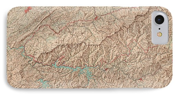 IPhone Case featuring the drawing Vintage Map Of Great Smoky Mountains National Park - Usgs Topographic Map - 1949 by Blue Monocle
