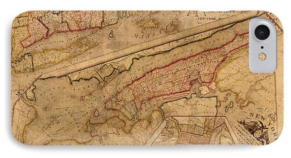Vintage Map Of Manhattan Island 1821 Antique On Worn Canvas  IPhone Case