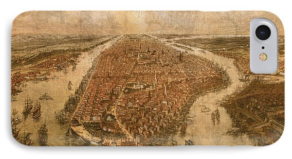 Vintage Map Of Manhattan New York City Nyc Birds Eye View Schematic Circa 1865 On Worn Distressed Canvas IPhone Case by Design Turnpike