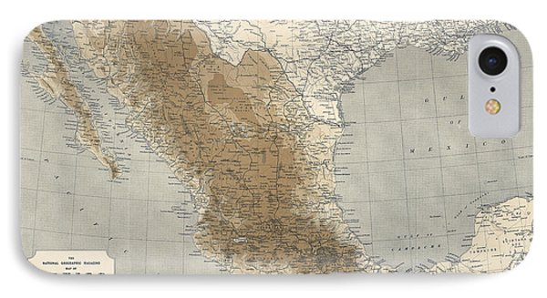 IPhone Case featuring the drawing Vintage Map Of Mexico - 1911 - National Geographic by Blue Monocle