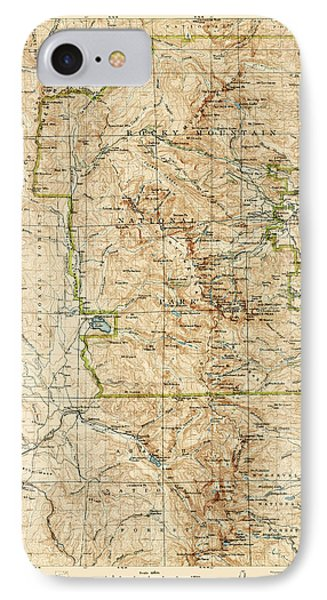 IPhone Case featuring the drawing Vintage Map Of Rocky Mountain National Park - Colorado - 1919/1940 by Blue Monocle