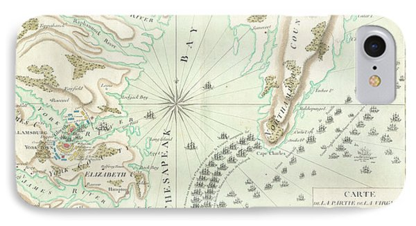 Vintage Map Of The Battle Of Yorktown - 1781 IPhone Case by CartographyAssociates
