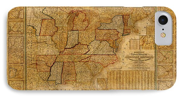 Vintage Map Of The United States Of America Usa Circa 1845 On Worn Distressed Parchment IPhone Case