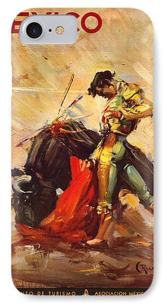Vintage Mexico Bullfight Travel Poster IPhone Case by George Pedro