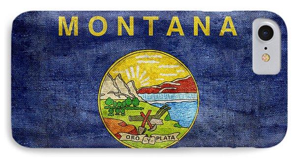 Vintage Montana Flag IPhone Case by Jon Neidert